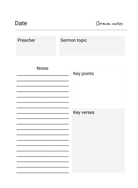 Sermon notes template preview